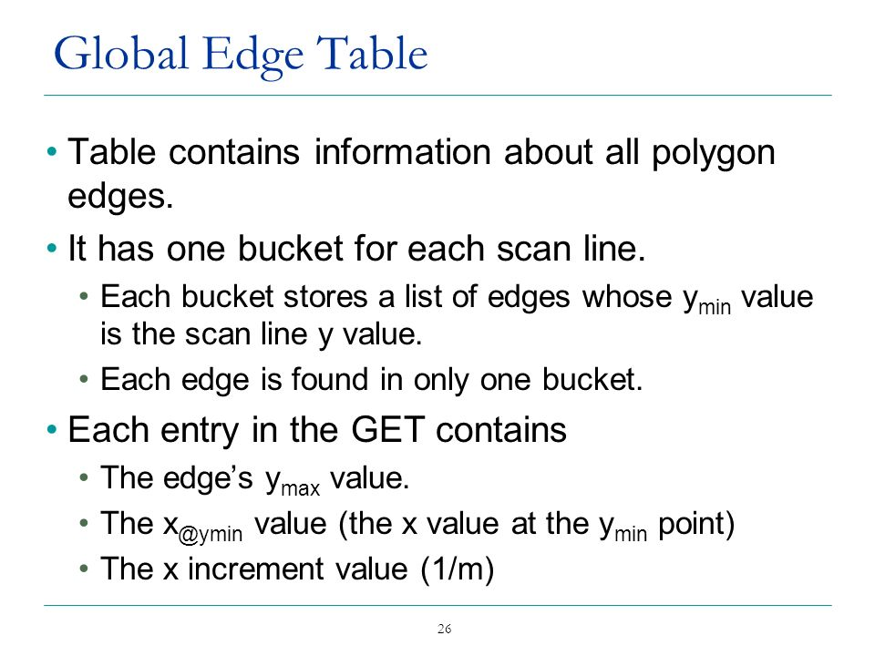 Global Edge Table Table contains information about all polygon edges.