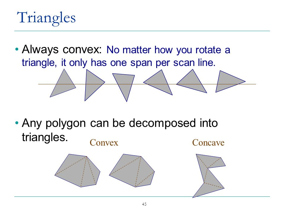 Triangles Always convex: No matter how you rotate a triangle, it only has one span per scan line. Any polygon can be decomposed into triangles.