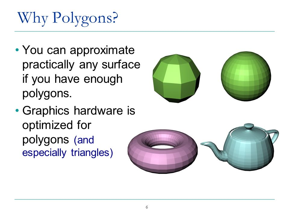 Why Polygons You can approximate practically any surface if you have enough polygons.