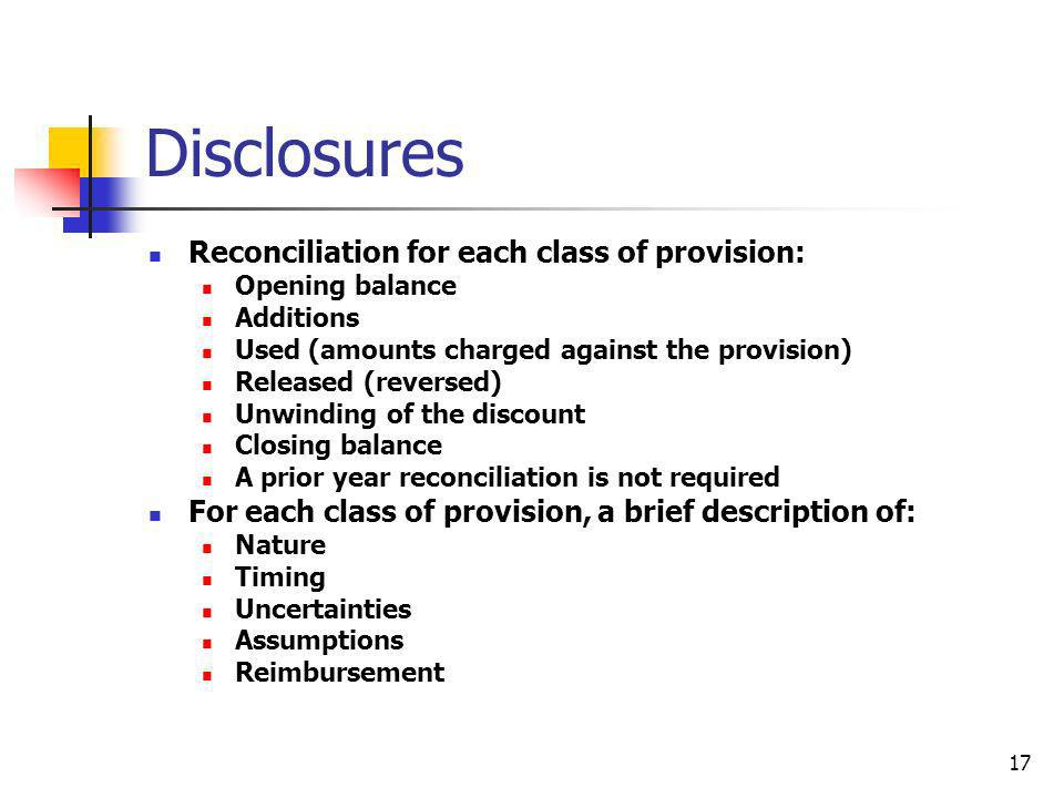 Disclosures Reconciliation for each class of provision: