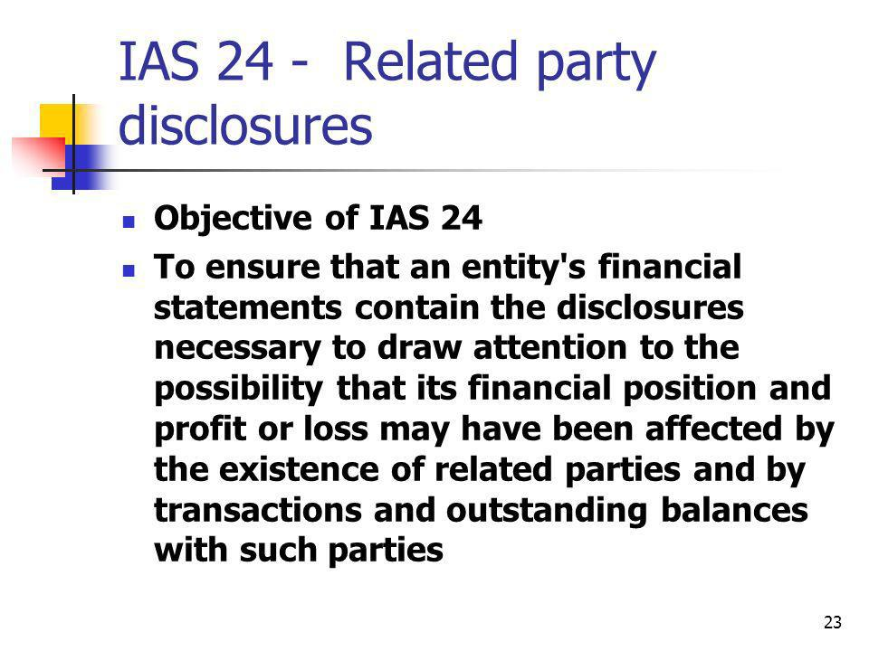 IAS 24 - Related party disclosures