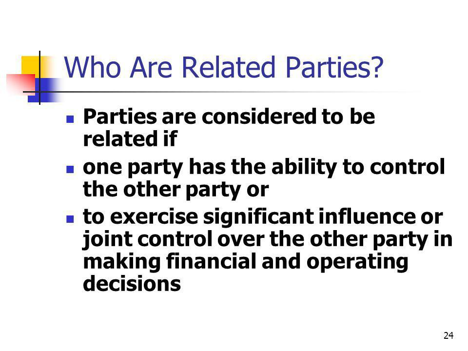 Who Are Related Parties