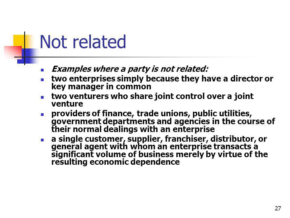 Not related Examples where a party is not related: