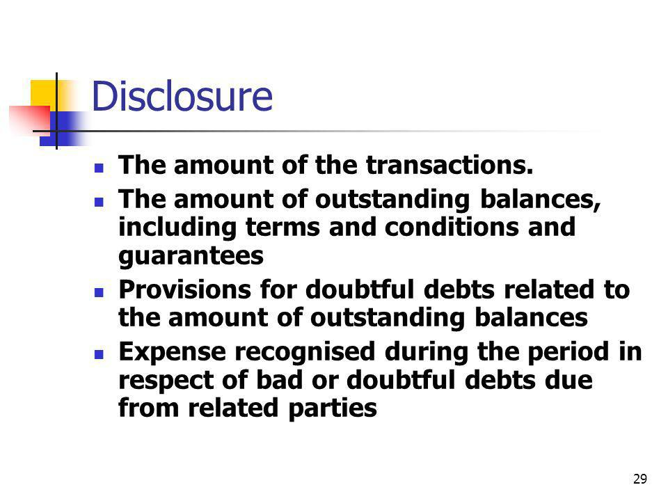 Disclosure The amount of the transactions.