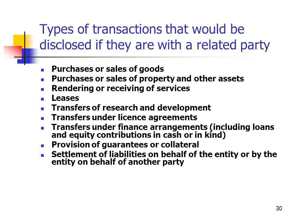Types of transactions that would be disclosed if they are with a related party