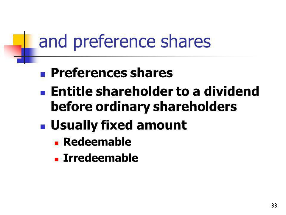 and preference shares Preferences shares
