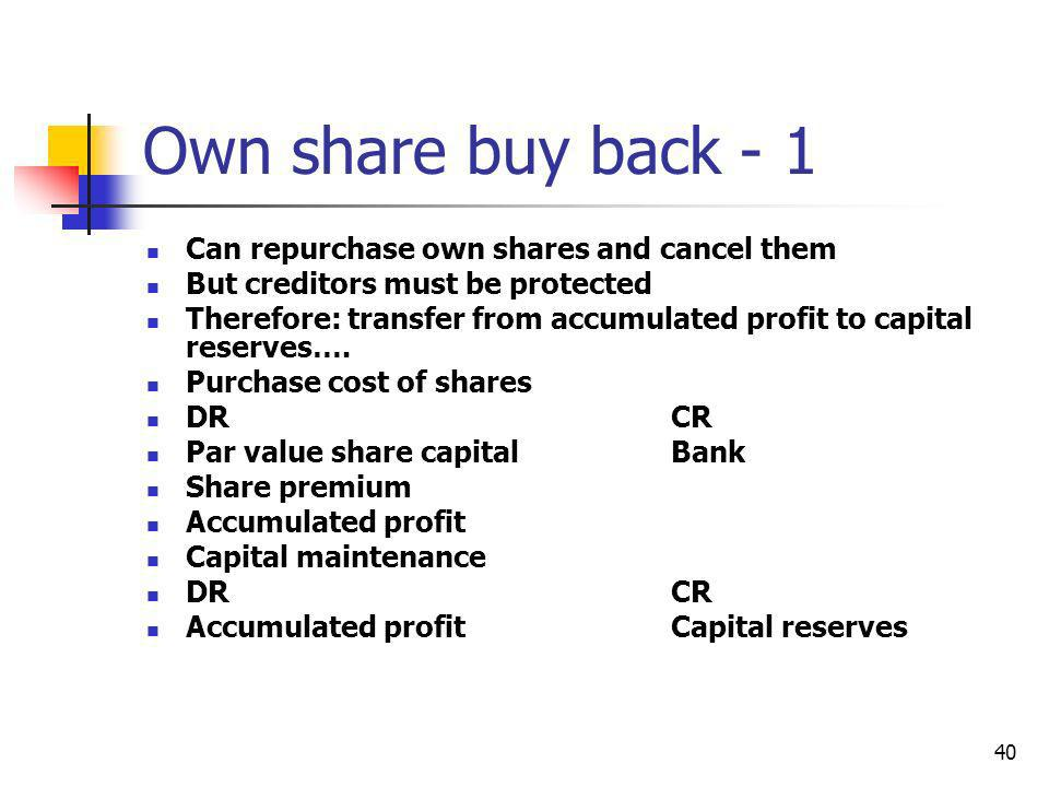 Own share buy back - 1 Can repurchase own shares and cancel them
