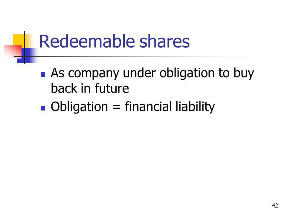 Redeemable shares As company under obligation to buy back in future