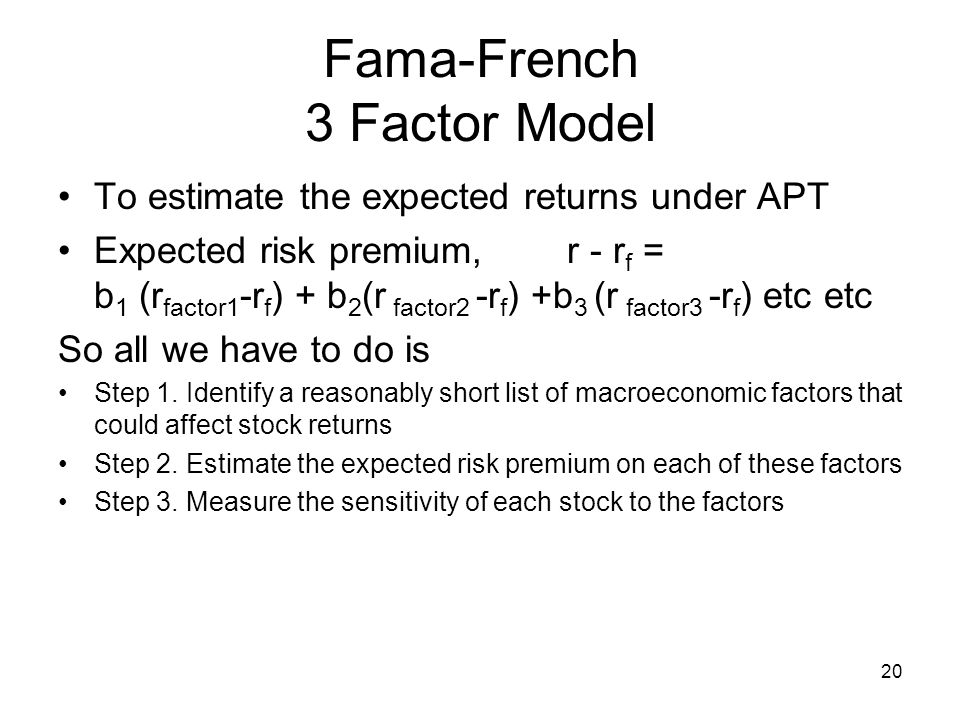 what factors did fama and french What exactly did the research of fama and french uncover, and what does it mean for your stock portfolio today the fama and french three factor model factor 1: the stock market.