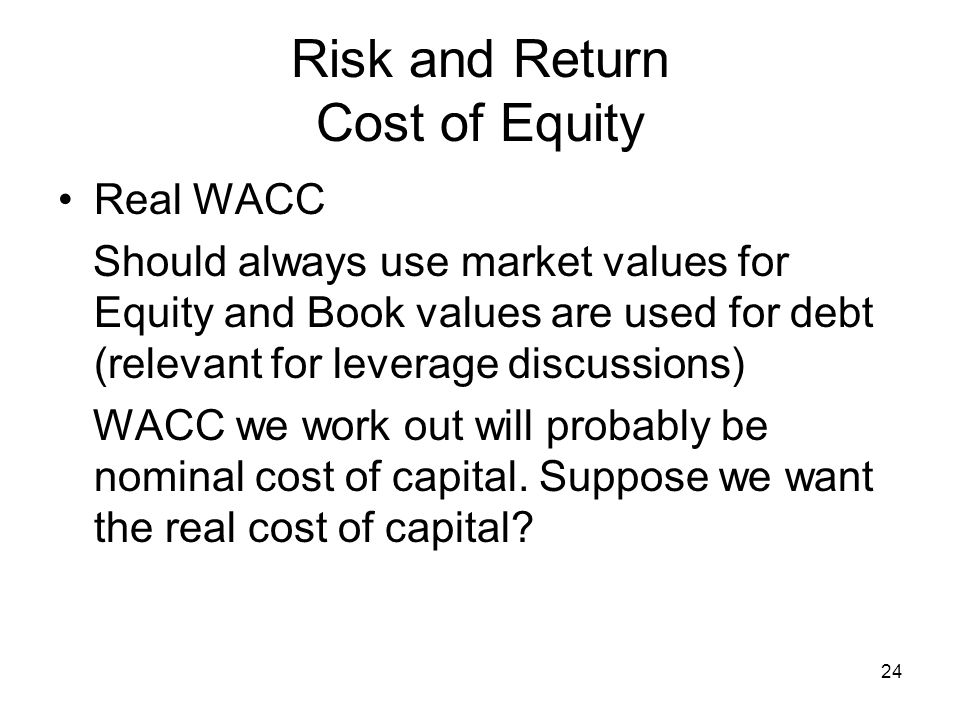 Risk and Return Cost of Equity