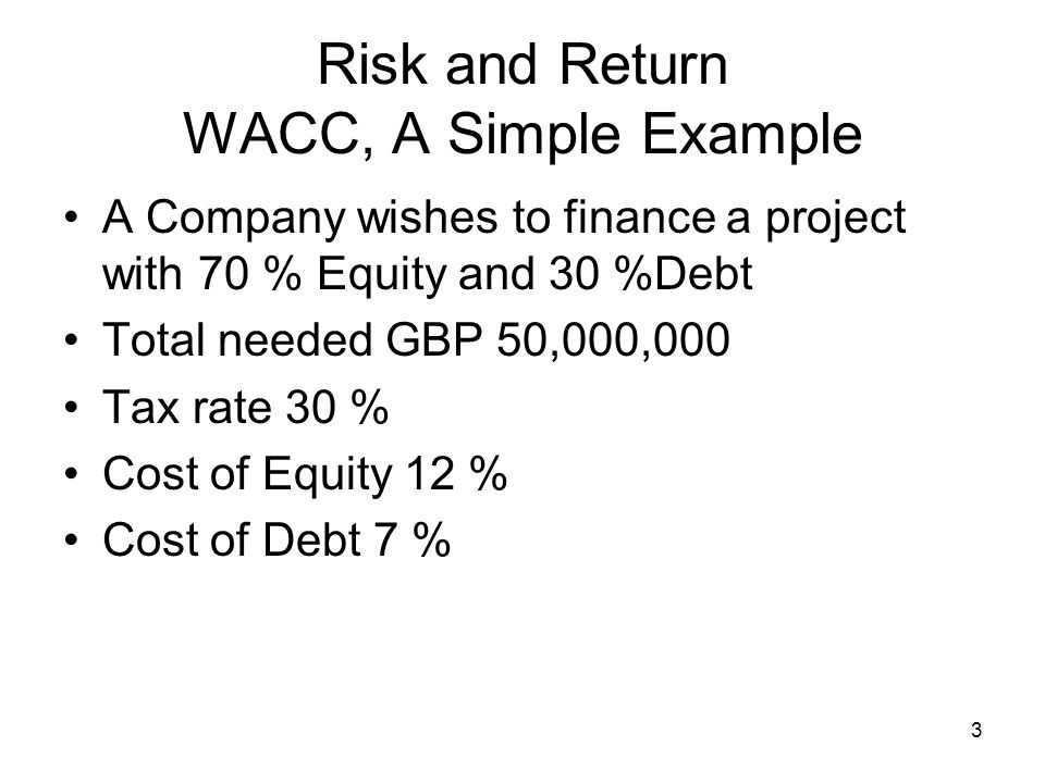 Risk and Return WACC, A Simple Example