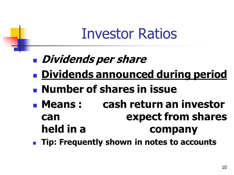 Investor Ratios Dividends per share Dividends announced during period