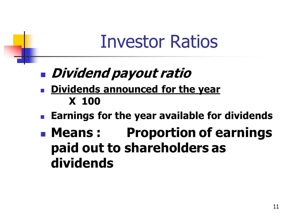 Investor Ratios Dividend payout ratio