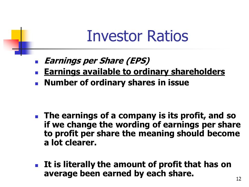 Investor Ratios Earnings per Share (EPS)