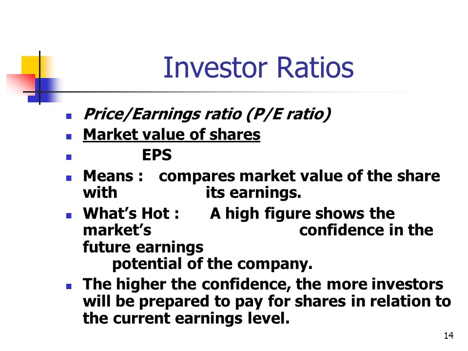 Investor Ratios Price/Earnings ratio (P/E ratio)