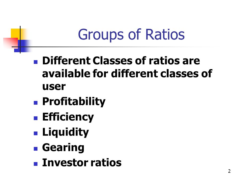 Groups of Ratios Different Classes of ratios are available for different classes of user. Profitability.