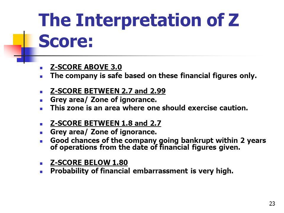 The Interpretation of Z Score: