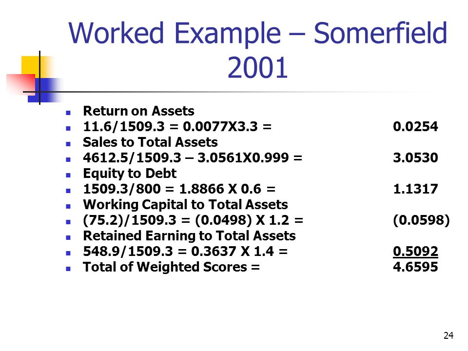 Worked Example – Somerfield 2001