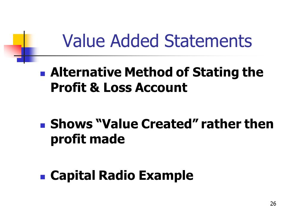 Value Added Statements