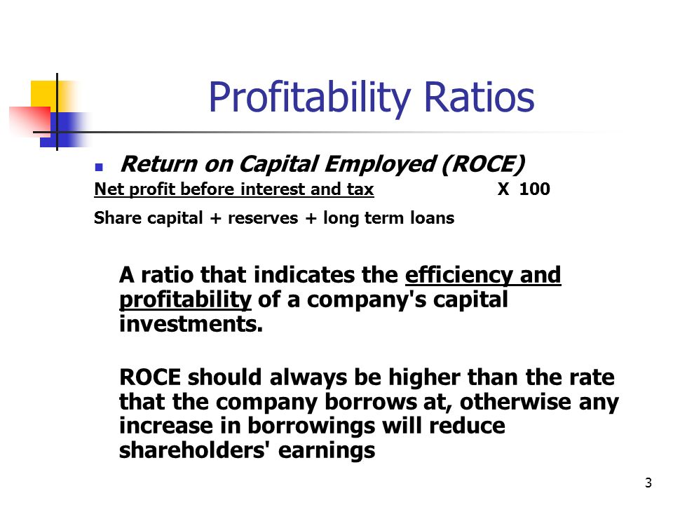 Profitability Ratios Return on Capital Employed (ROCE)