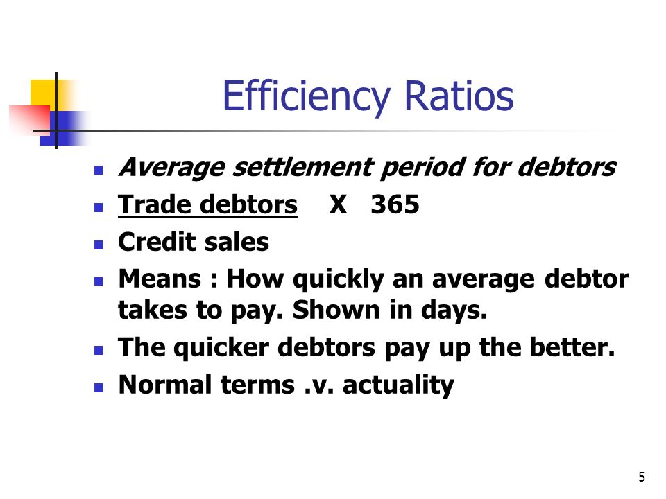 Efficiency Ratios Average settlement period for debtors