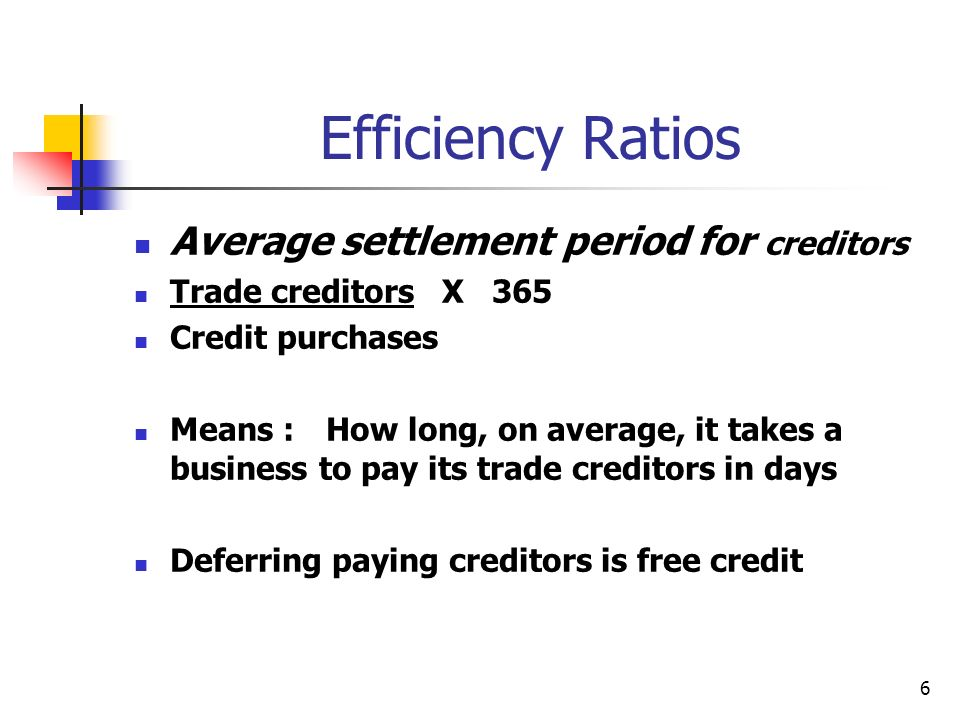 Efficiency Ratios Average settlement period for creditors