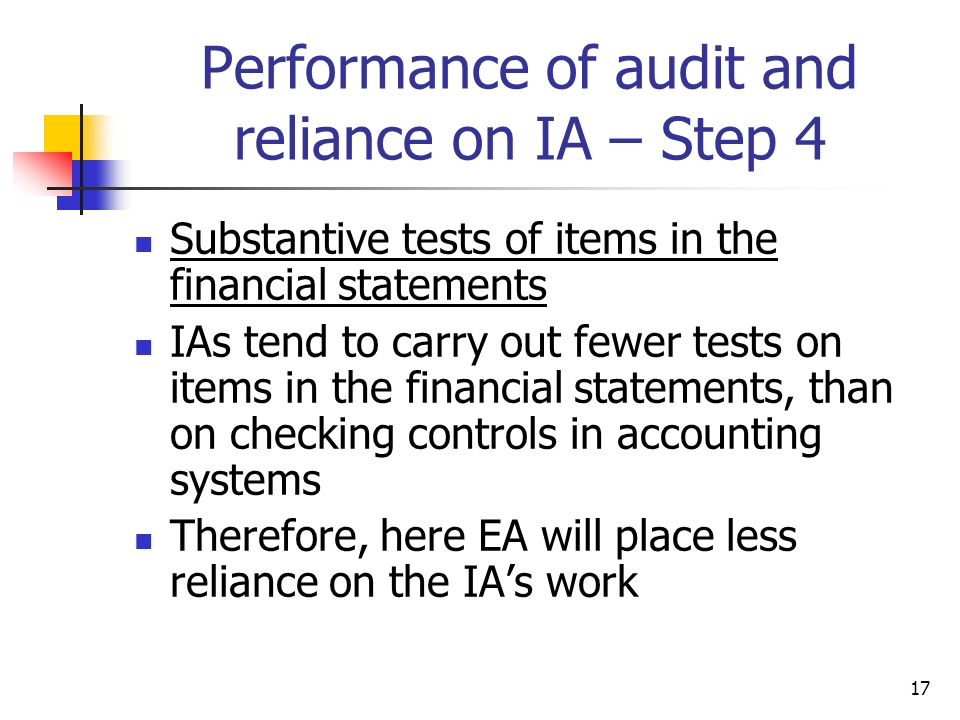 Performance of audit and reliance on IA – Step 4