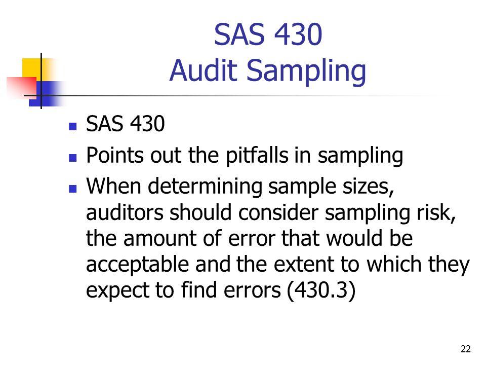 SAS 430 Audit Sampling SAS 430 Points out the pitfalls in sampling