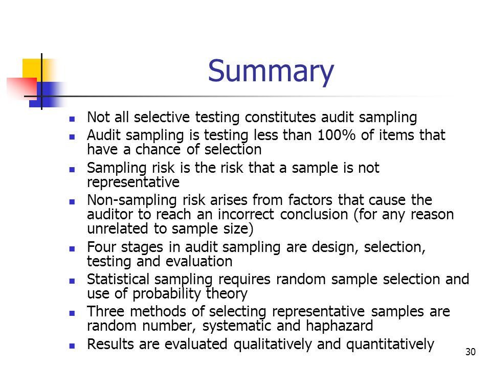Summary Not all selective testing constitutes audit sampling