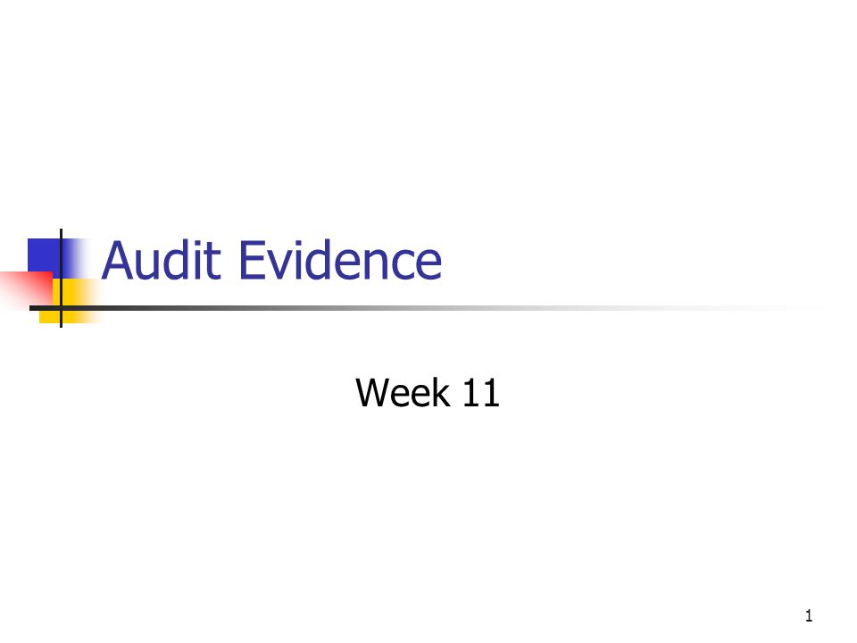 Audit Evidence Week 11
