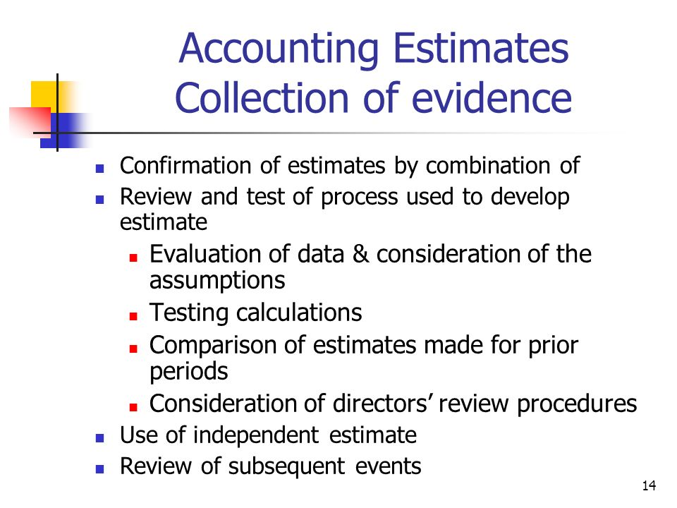 Accounting Estimates Collection of evidence