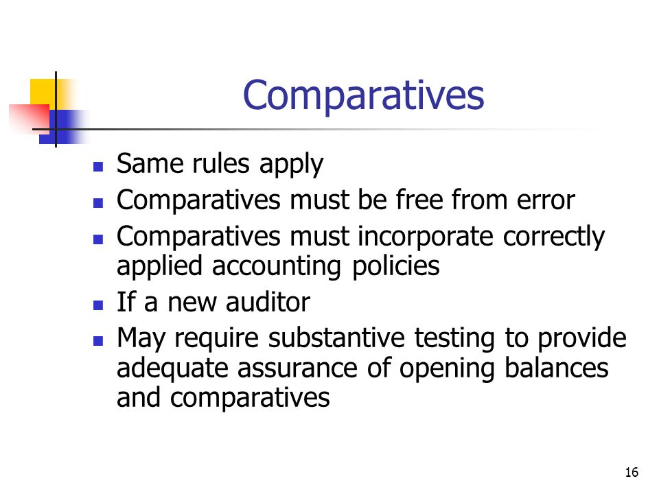 Comparatives Same rules apply Comparatives must be free from error