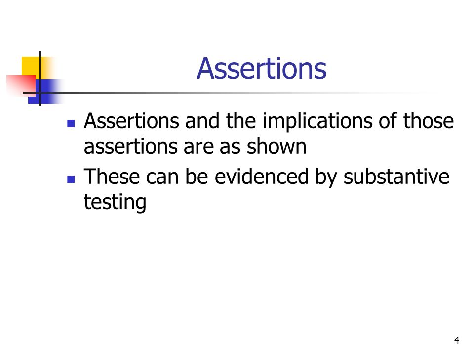 Assertions Assertions and the implications of those assertions are as shown.