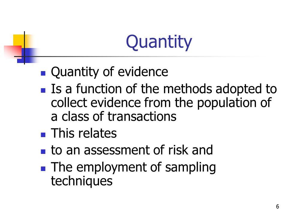 Quantity Quantity of evidence