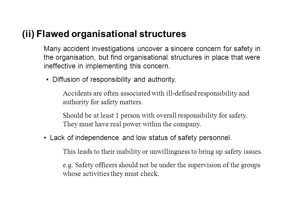 (ii) Flawed organisational structures