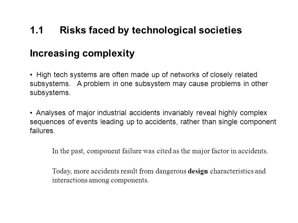 1.1 Risks faced by technological societies