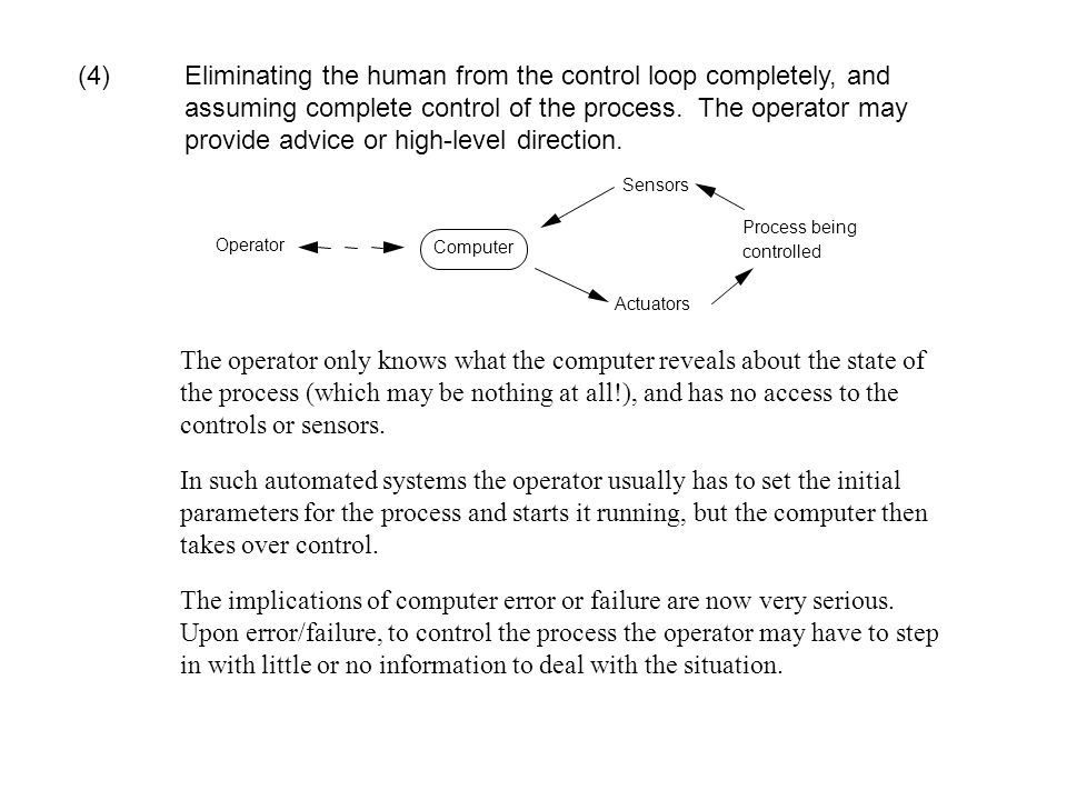 (4). Eliminating the human from the control loop completely, and