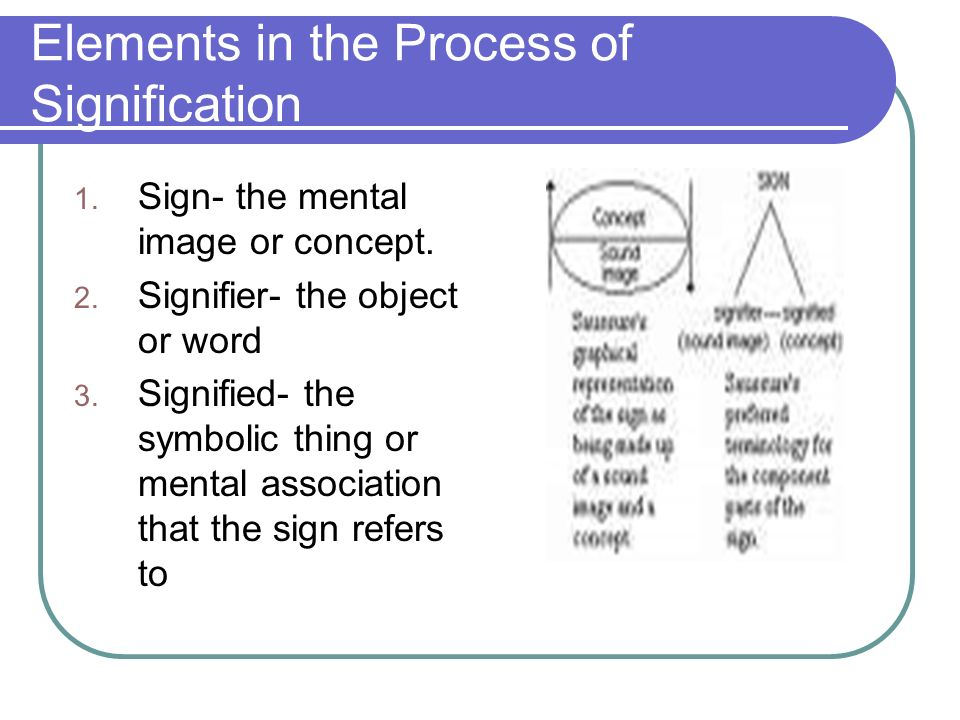 Elements in the Process of Signification