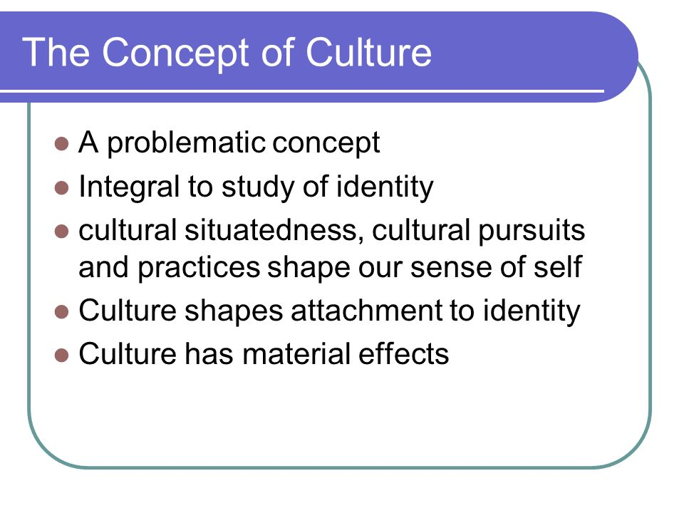 The Concept of Culture A problematic concept