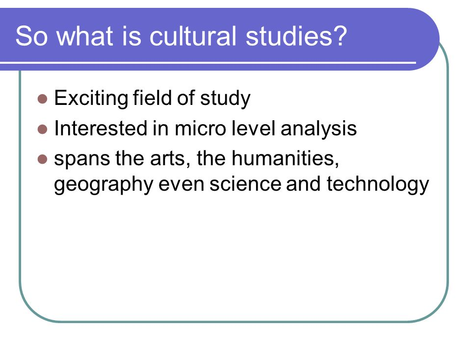 So what is cultural studies
