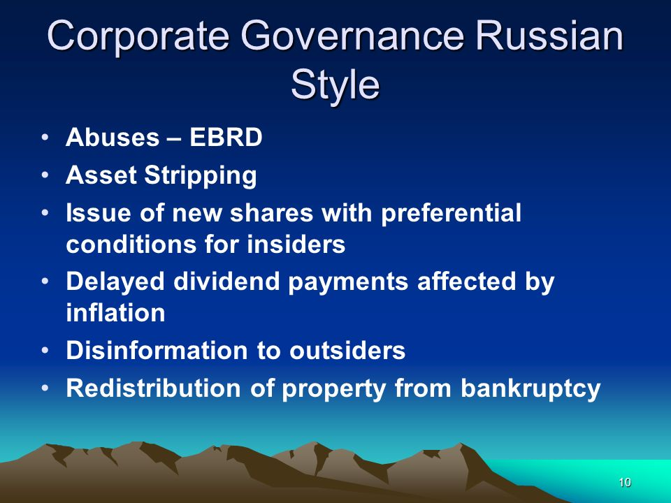 Corporate Governance Russian Style