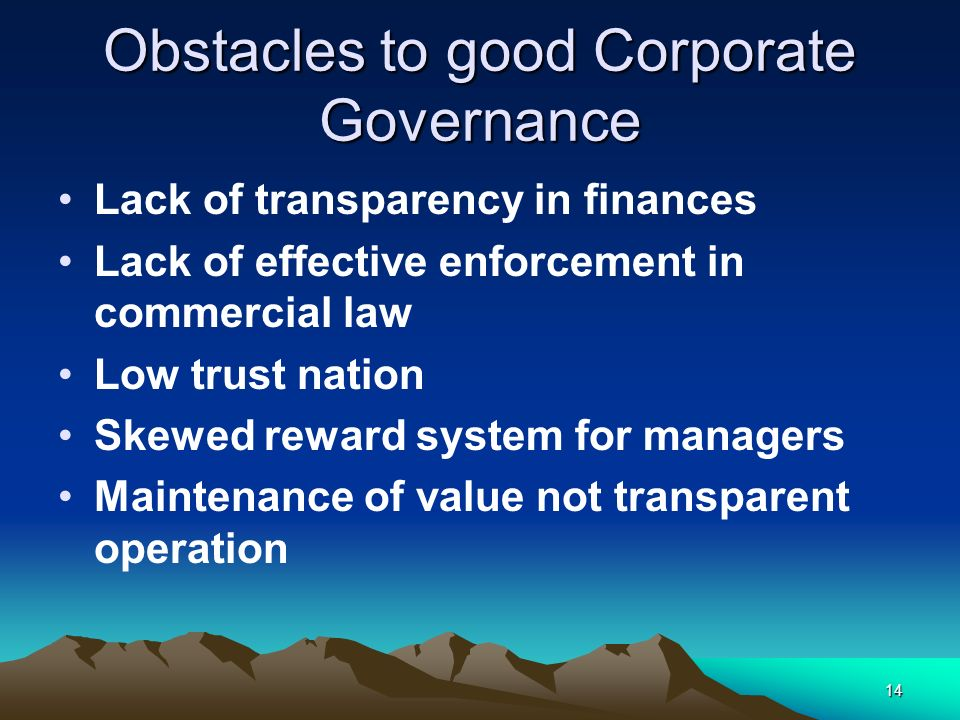 Obstacles to good Corporate Governance
