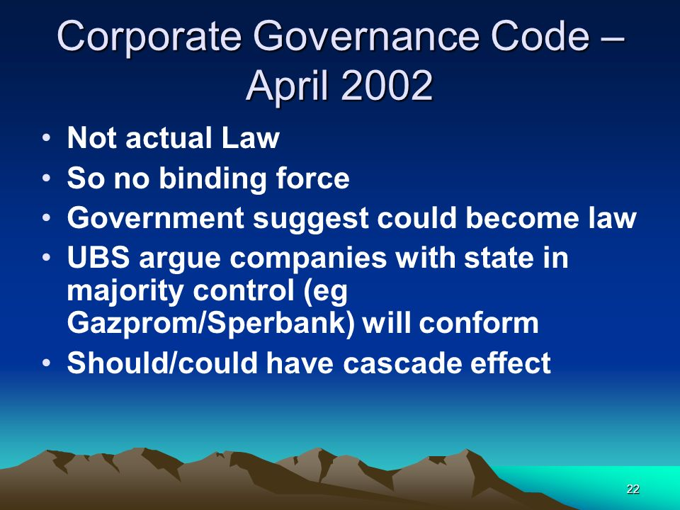 Corporate Governance Code – April 2002