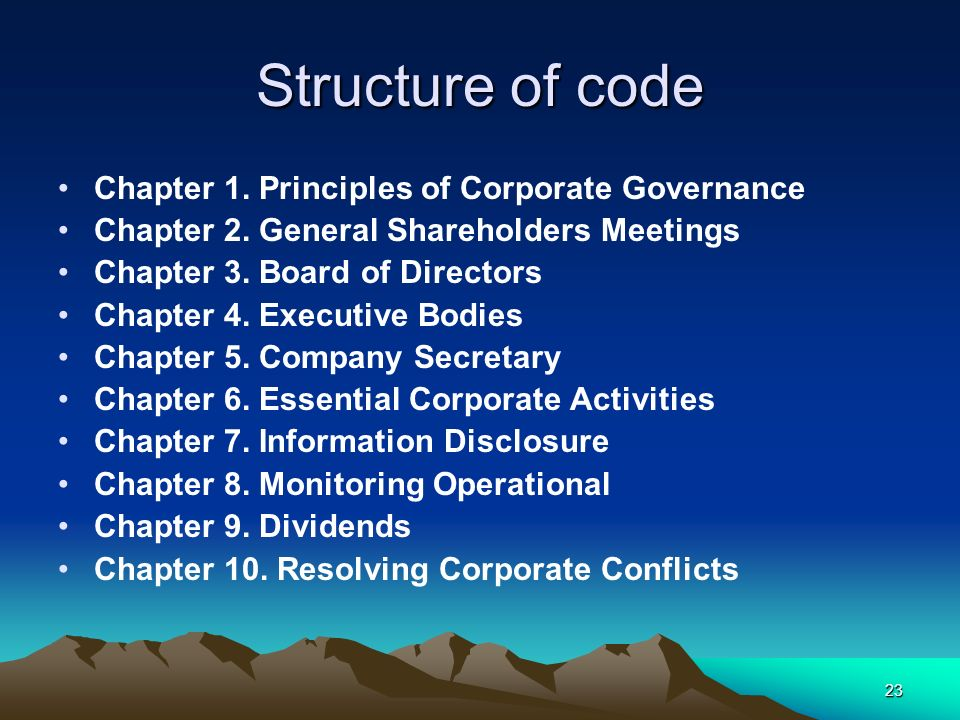Structure of code Chapter 1. Principles of Corporate Governance