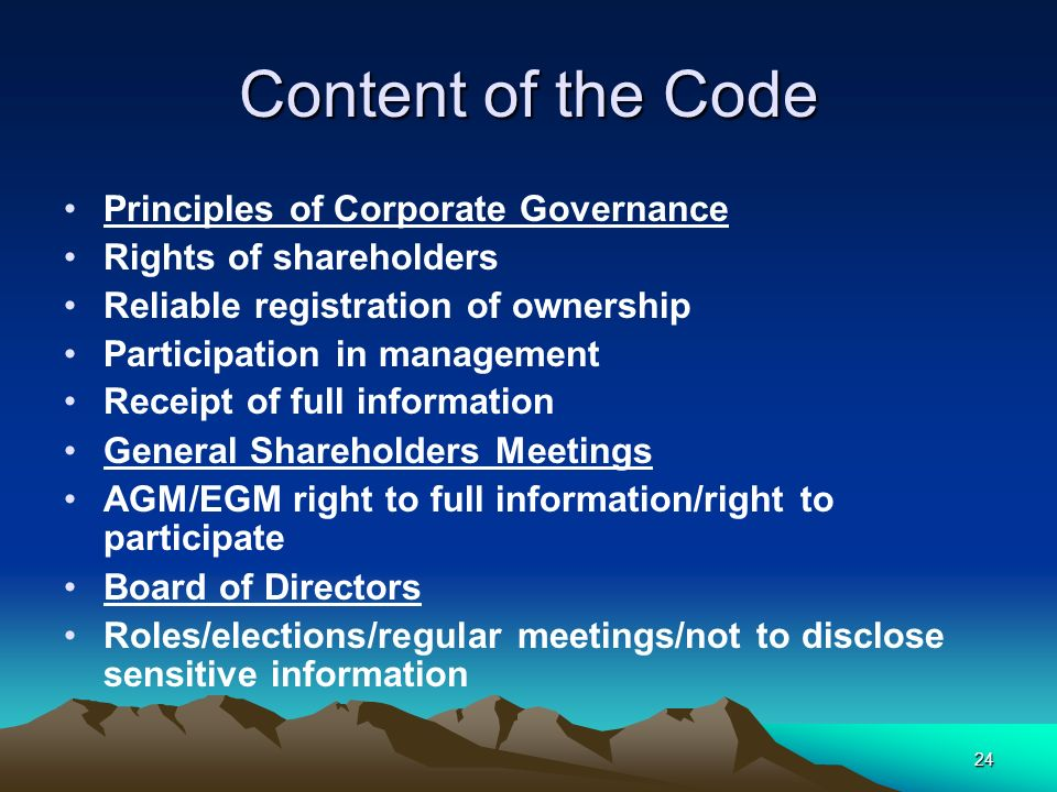 Content of the Code Principles of Corporate Governance