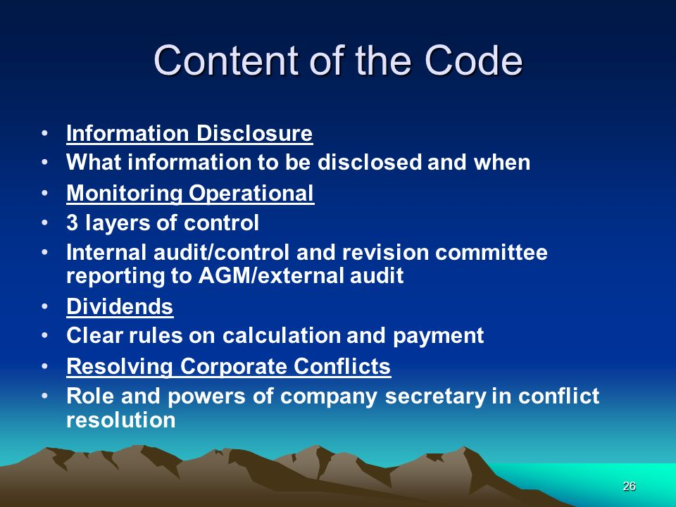 Content of the Code Information Disclosure