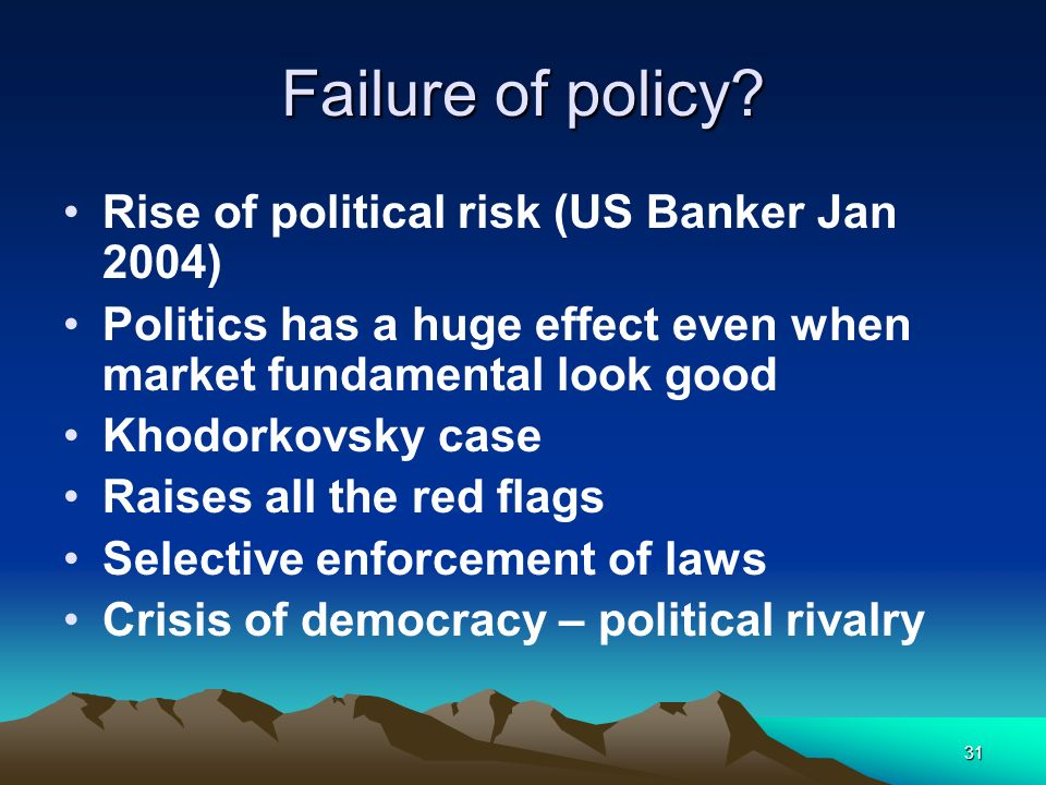 Failure of policy Rise of political risk (US Banker Jan 2004)