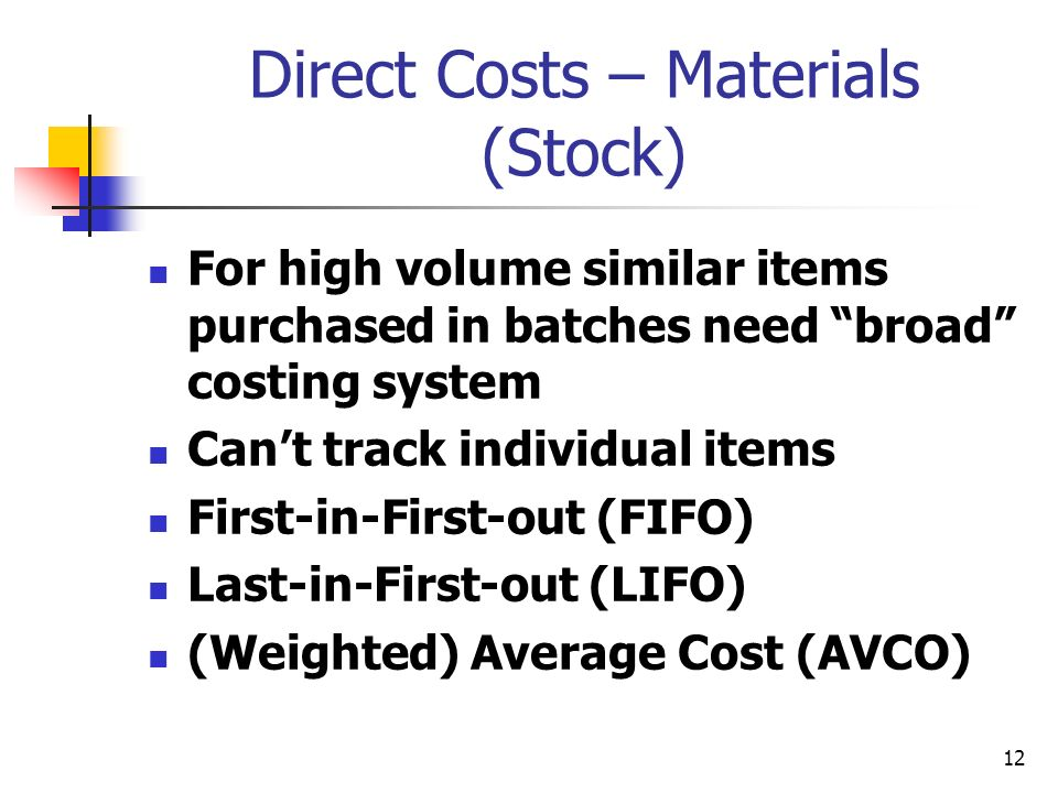 Direct Costs – Materials (Stock)