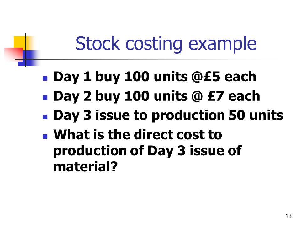 Stock costing example Day 1 buy 100 units @£5 each