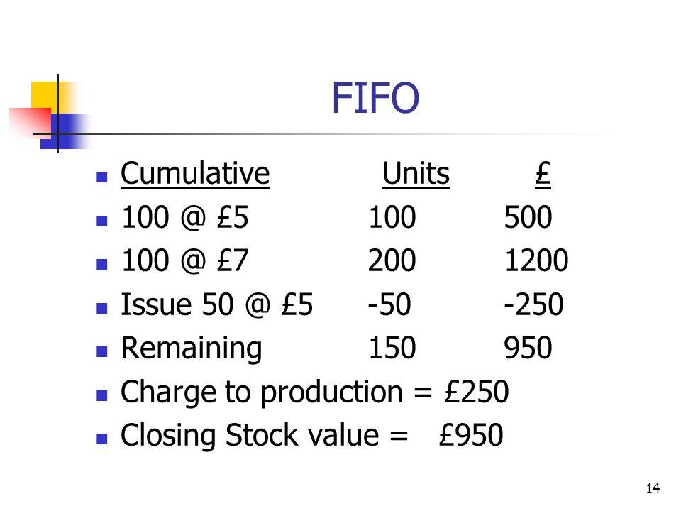 FIFO Cumulative Units £ 100 @ £5 100 500 100 @ £7 200 1200